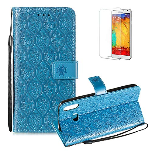 Rattan Cover Cool (For Samsung Galaxy A6S PU Leather Wallet Case [Free Screen Protector],Magnetic Flip with Cards Slot Cash Pockets Embossed Rattan Flowers Pattern Soft Silicone Cover for Samsung Galaxy A6S,Blue)