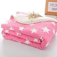 BRANDONN Fleece Star Polka Wrapping Sheet/ Blanket for Newborn Babies (Pink, 75x98cm)