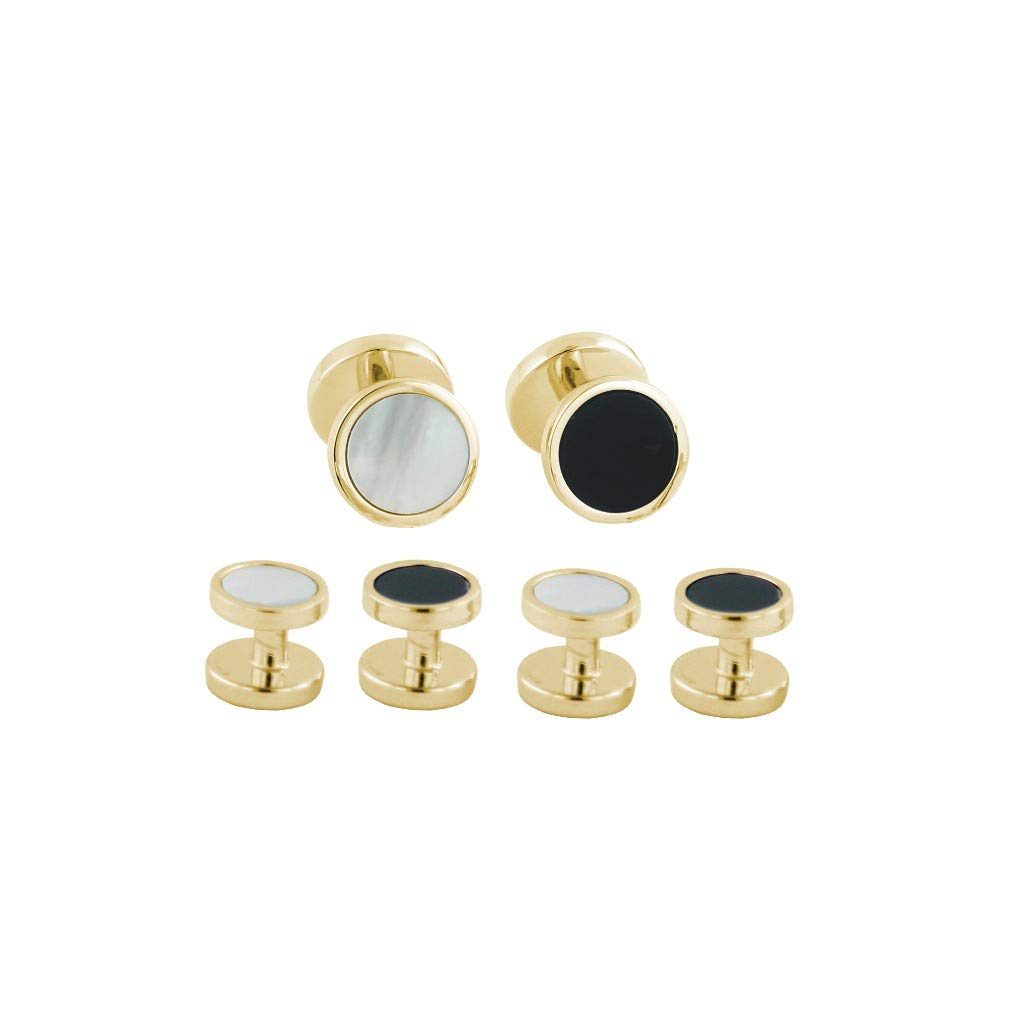 David Donahue Mens Gold Plated Sterling Silver Onyx and Mother of Pearl Reversible Stud Set