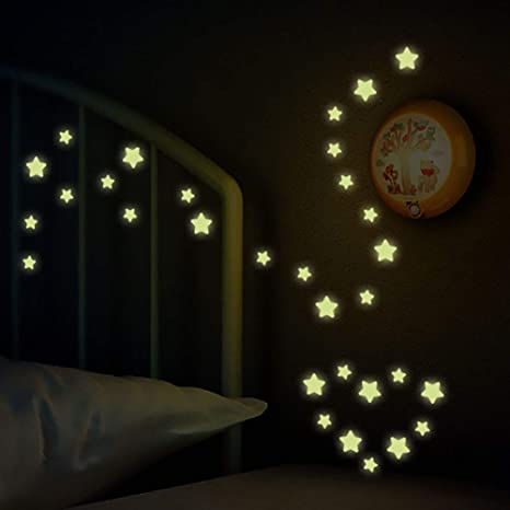 con stelle luminose che si illuminano al buio decorazione per stanza dei bambini rimovibile Adesivo da parete creativo fai da te Kuizhiren1