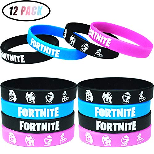 12 Pack Game Party Supplies Bracelets,Ecofriendly Silicone Wristbands Video Game Theme Party Favors for Kids and Boys Party Gifts,3 Colors -