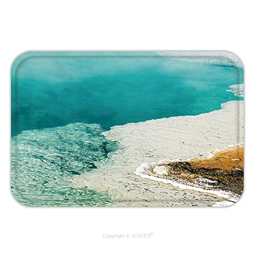 Flannel Microfiber Non-slip Rubber Backing Soft Absorbent Doormat Mat Rug Carpet Steam Rises From A Beautiful Deep Blue Hot Spring Pool At West Thumb Geyser Basin In Yellowstone 131744930 for Indoor/O