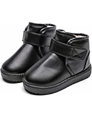 Boys Girls Kids Winter Boots Fur Lined Ankle Snow Boots Waterproof Toddler Youth Leather Boots Anti-Slip Casual Walking Shoes
