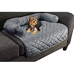"""PETMAKER Furniture Protector Pet Cover for Dogs and Cats with Shredded Memory Foam Filled 3-Sided Bolster Soft Plush Fabric – 30"""" x 30.5"""" Gray"""