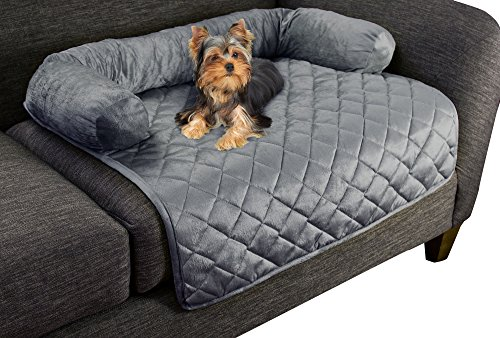 "Furniture Protector Pet Cover for Dogs and Cats with Shredded Memory Foam filled 3-Sided Bolster Soft Plush Fabric by PETMAKER – 30"" x 30.5"" Gray (Cover Pet Furniture)"