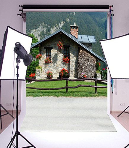 Laeacco 3x5FT Vinyl Backdrop Thin Photography Background Stone Cottage Wooden Hedge Green Mountain Red Flowers Countryside Life for Baby Children Portraits Backdrop 1(W) X1.5(H) M Photo Studio Prop