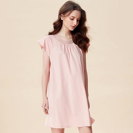 Pijamas de algodón para Mujer de Verano de Manga Corta camisón de Gran tamaño Suelto Rojo de Mujer Embarazada Vestido de casa de Falda de algodón Vestido de Seda GAOLILI: Amazon.es: Deportes