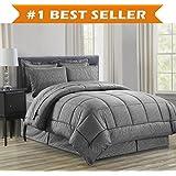 Elegant Comfort Complete Bed-In-A-Bag 8-Piece Comforter Set King Grey
