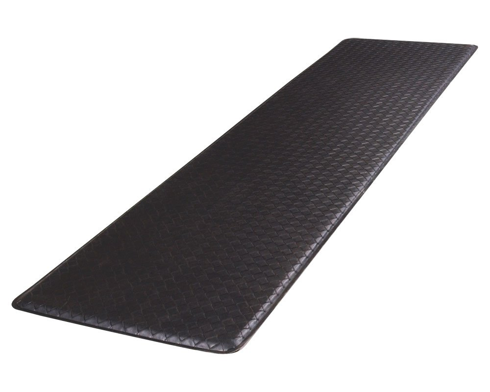 "GelPro Classic Anti-Fatigue Kitchen Comfort Chef Floor Mat, 20x72"", Basketweave Black Stain Resistant Surface with ½"" gel core for health & wellness"