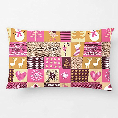 ALEX Throw Pillow Case Decorative Cushion Cover Cotton Polyester Rectangle Pillowcase Design With Christmas Vintage Pattern With Funny Video Custom Pillow Case Print Double Side Sized 12X20