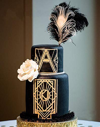 (JeVenis Art Deco Cake Topper Black Feather Cake Topper Great Gatsby Cake Decoration 1920s Wedding Cake Topper Gatsby Theme Cake Topper for Birthday Wedding Party)