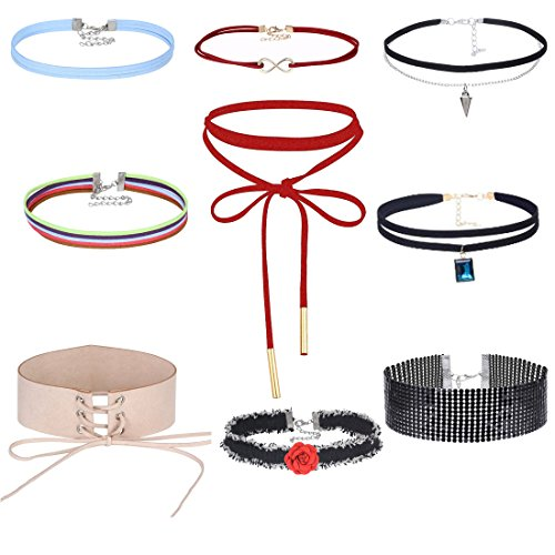 (Tpocean 9 PCS Multicolor Velvet Choker Necklaces Set Thick Choker Necklaces Tassel Pendant for Women Girls Teens)