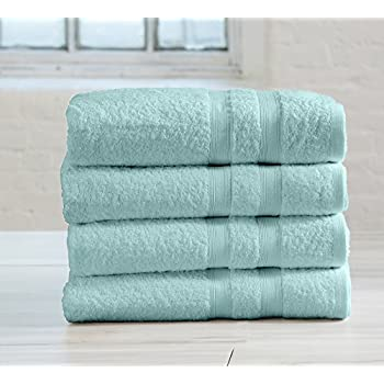 4-Pack 100% Cotton Spa Bath Towel Set. Extra absorbent. Emelia Collection By Great Bay Home Brand. (Eggshell Blue)
