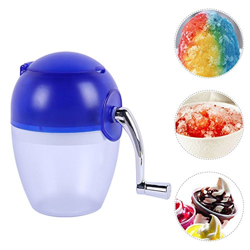 (Yunhigh Manual Ice Crusher Hand Crank Ice Grinder Portable Handheld Ice Shaver Machine Maker Small Smoothie Blender Home Use for Snow Cones Frozen Drinks)