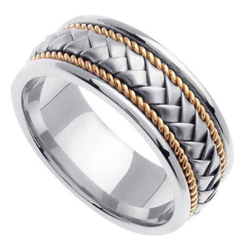 Two Tone Braided Wedding Ring for Men (8.5mm) Size 10