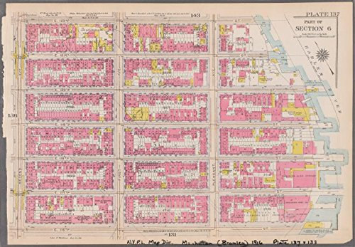 Historic 1916 Map | Plate 137: [Bounded by E. 122nd Street, (Harlem River) Pleasant | Antique Vintage Map Reproduction
