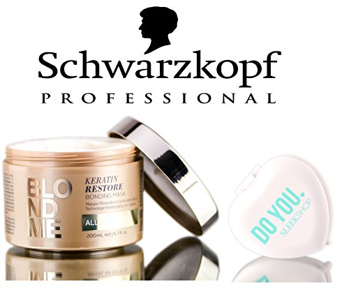 (Schwarzkopf Blond Me Keratin Restore Bonding Mask - ALL BLONDES (with Sleek Compact Mirror) (6.7 oz / 200ml - retail size))