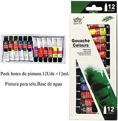 Pack de 12 botes de pintura de 12 ml. Gouache colours, con base de ...