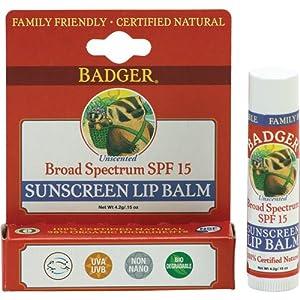 Badger Sunscreen Lip Balm with SPF 15 - .15 oz Stick
