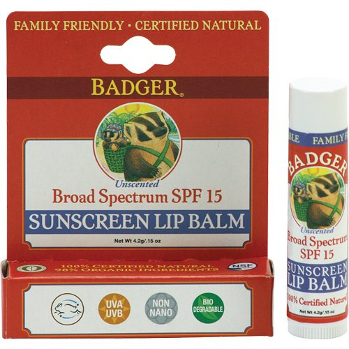 Badger Balm Broad Spectrum Sunscreen Lip Balm Stick - SPF 15 - .15 - Chapstick Balm Lip 15 Spf