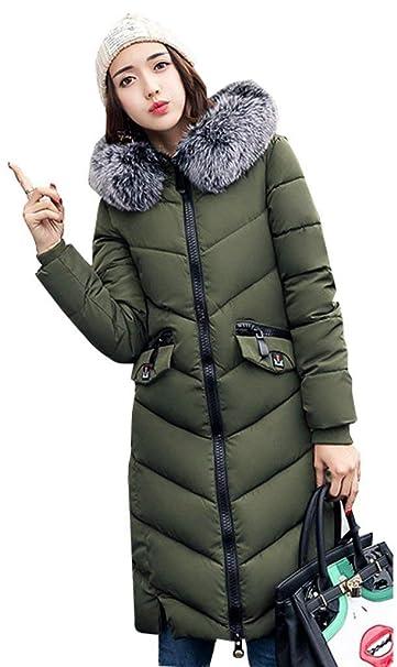 Plumas Mujer Invierno Elegante Moda Parkas Bolsillos Delanteros con Casuales Mujeres Caliente Color Sólido Manga Larga