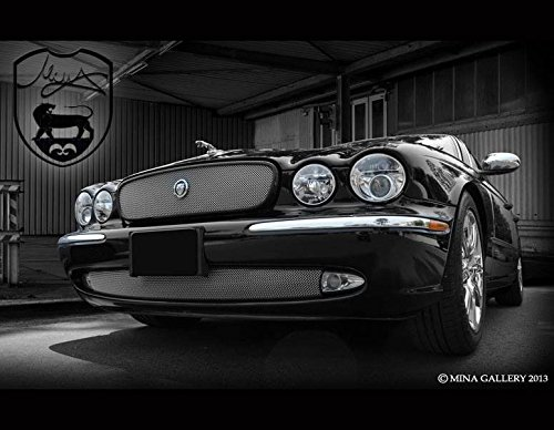 Jaguar X350 XJ8 XJR New Style Growler Mesh Grille (unpainted border) and Lower Grille PKG 2004 - 2007 Bright Stainless or Black - Heavy Mesh Style Grille