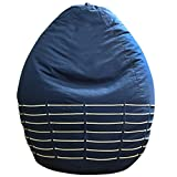 Oocha XXXL Blue Crushed Canvas Bean Bag Cover with White Cotton Chains & Easy Carry Handle