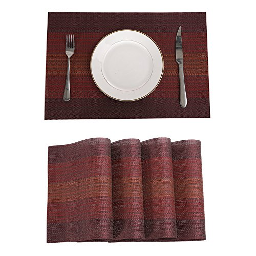 Marscool Placemats,Placemats for Dining Table, Stain Resistant Washable PVC Table Mats,Heat Resistant Woven Kitchen Table Mats,Set of 4 Placemats (Red)