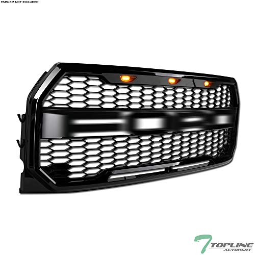 Topline Autopart Black Raptor Honeycomb Mesh Front Hood Bumper Grill Grille With 3 Amber LED Lights ABS For 15-17 Ford F150