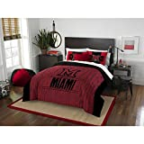 3pc NCAA Miami Ohio University RedHawks Comforter Full Queen Set, Black Red, Unisex, Team Spirit, Fan Merchandise, Sports Patterned Bedding, Team Logo, College Basket Ball Themed