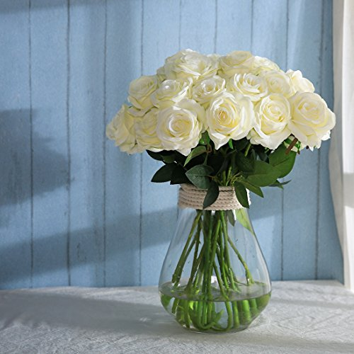 Luyue Artificial Silk Rose Flower Bouquet Wedding Party Home Decor, Pack of 10(Style 1-White) - Silk Rose Wedding Bouquets
