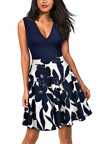 Miusol Women's Casual Flare Floral Contrast Sleeveless Party Mini Dress, Navy Blue, - Sleeveless Dress Flare