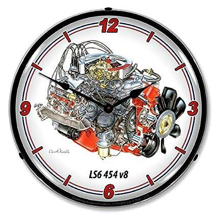Amazon com: Corvette LS6 Engine 454 CID V8 Vette Wall Clock