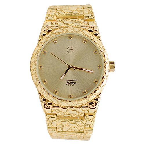 Mens Techno 14k Gold Plated Iced Out Lab Diamond with Gold Dial Diamond Cut Nugget Metal Band Watch ()