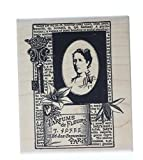 Parfumes de Fleurs Label Collage Woman Lady Stampington And Co Wooden Rubber Stamp