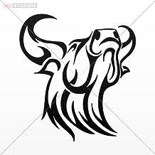 Stickers Bull Head Tribal Red (8 X 7.3 Inch) X997x Size: 5 X 4.6 Inches Black