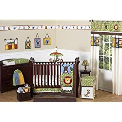 Jungle Safari Monkey, Giraffe, Lion, Animal theme unisex Bedding 11pc Crib Set without bumper