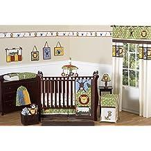 Sweet Jojo Designs 11-Piece Jungle Safari Monkey, Giraffe, Lion, Animal theme Baby Boy Bedding Crib Set Without Bumper