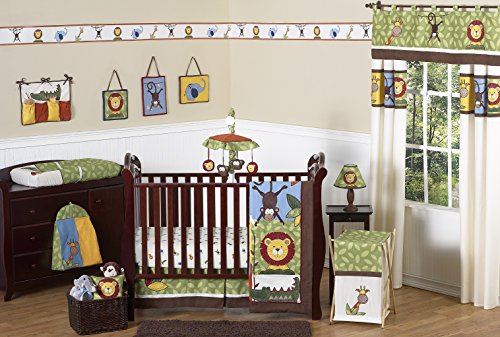 Denim Crib Bedding (Sweet Jojo Designs 11-Piece Jungle Safari Monkey, Giraffe, Lion, Animal theme Baby Boy Bedding Crib Set Without Bumper)