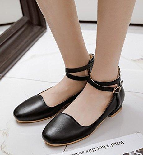 Aisun Mujeres Cute Comfort Round Toe Low Cut Elegante Cinturón De Tobillo Con Hebilla Zapatos Planos Negro