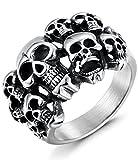 FIBO STEEL Stainless Steel Rings for Men Women Multi Skull Head Rings,Size 9