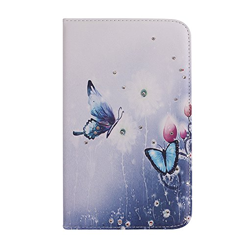 IKASEFU(TM) Girl's Cute Flower PU Leather Folio Case Protective Book Style Flip Cover Bling Case with Stand and Rhinestone for Samsung Galaxy Tab 3 7.0 7 inch Tablet SM-T210 / SM-T217 (Blue Butterfly)