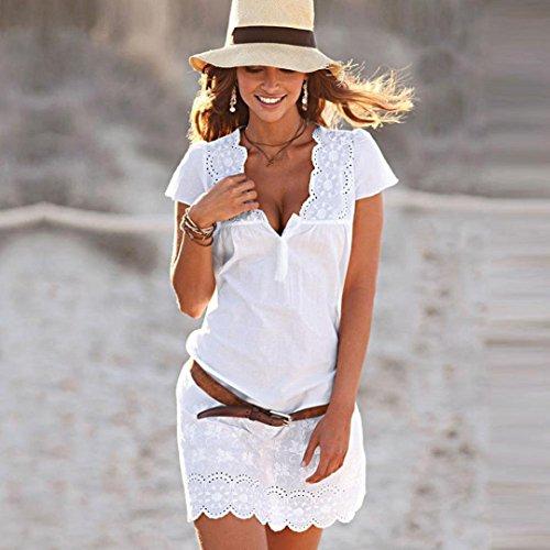 Estate Pizzo Abito V Vestito Donna Ragazza Donna da Abiti Vestito Sciolto Casuale Maniche SmrBeauty Bianco Vintage Vestito Bianco Elegante Estivo Corta Neck Promozioni qrzqH8SWw