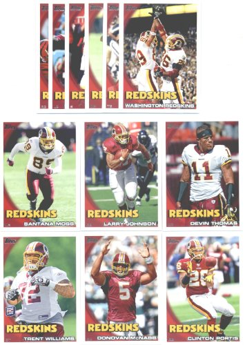 2010 Topps Washington Redskins Complete Team Set of 12 cards including Donovan McNab, Clinton Portis, Larry Johnson, Santana Moss, Trent Williams Rookie & more !