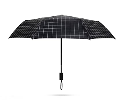 Paraguas, paraguas doblez Lluvia para hombre cortavientos para mujer (Color : Negro)