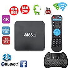 M8S Android TV Box With Keyboard - TopYart Android 6.0 TV Box 2GB 16GB S912 Octa Core Bluetooth 4.0 Dual Band WiFi 4K Smart Box + H9 Backlit Wireless Keyboard