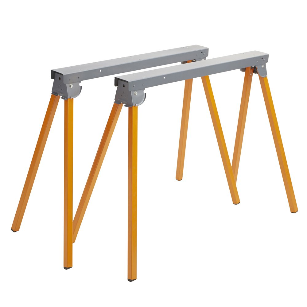 All steel Folding SAWHORSE - Pair Bora Portamate PM-3300T. Two 33'' Tall Fold-Up Heavy Duty Saw Horses. Fully Assembled, 1, 000Lb. Capacity (500Lbs. Each) & Quickly Folds Up For easy storage