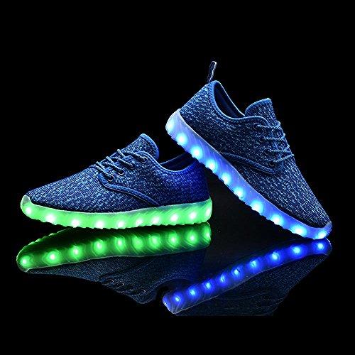 UNN LED leuchten Schuhe für Männer Frauen und Kinder USB Lade blinkt leuchtende leuchtende Turnschuhe Blau
