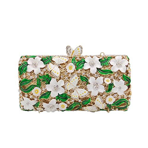 White Clutches Rhinestones for Bags Women Crystal Bridal Flada Purse Evening and Flower Clutch 7R1fX