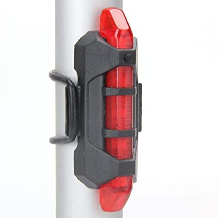 LED USB Rechargeable Bicycle Safety Tail Light Cycling Warning Rear Red Lamp